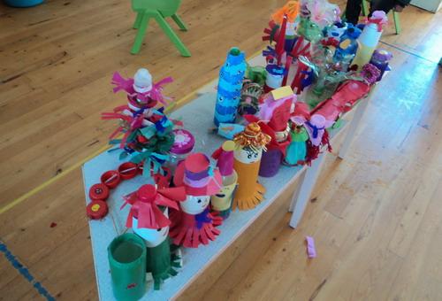 家长共同装扮瓶瓶罐罐,以游戏方式展开活动,并及时肯定幼儿参与和表达图片